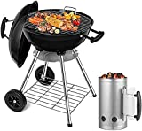 BEAU JARDIN 18 inch Charcoal Grill Bundle Chimney Starter for Outdoor Camping Cooking Barbecue
