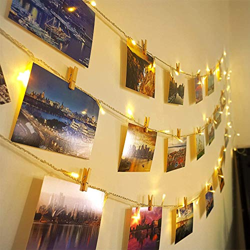 Ibello Guirnaldas Luces Fotoclips 100 Led 10m Guirnalda luminosa Led, Alimentado por Pilas con 60 Pinzas para Colgar fotos, ideal para Hogar, Pared, Navidad, Aniversario (blanco cálido)