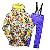 Lvguang Jungen & Mädchen Berg Wasserdicht Warm Skibekleidung Winddicht Regen Schnee Kapuzenjacke & Skihose (Lila#1, Asia XL)