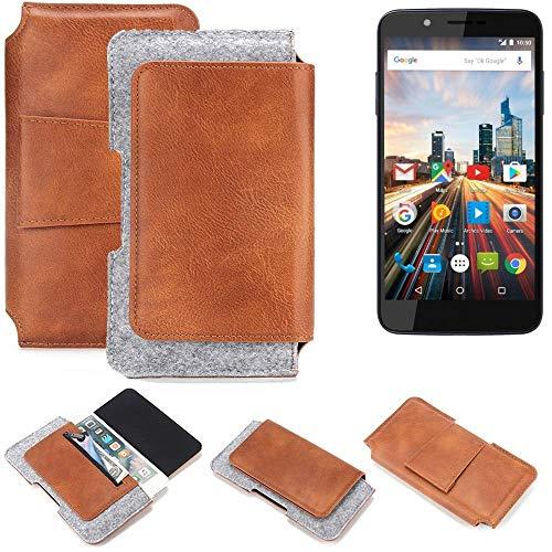 K-S-Trade® Schutz Hülle Für Archos 55 Helium 4Seasons Gürteltasche Gürtel Tasche Schutzhülle Handy Smartphone Tasche Handyhülle PU + Filz, Braun (1x)