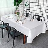 Puricon [6 Stücke] Einweg Tischdecke aus Kunststoff 1,37 x 2,74 M, Premium Rechteckige Tischabdeckung Gartentischdecke für Gastronomie, Feste, Party, Hochzeiten oder Haushalt -Weiß - 6