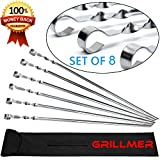 BBQ Skewers 22' Large【Upgraded】Shish Kabob Skewers Stainless Steel Long & V-Shape Reusable Kabob Sticks Barbecue Skewers For Grilling Set of 8 Piece Heavy Duty Wide BBQ Sticks Ideal for Shish Kebab