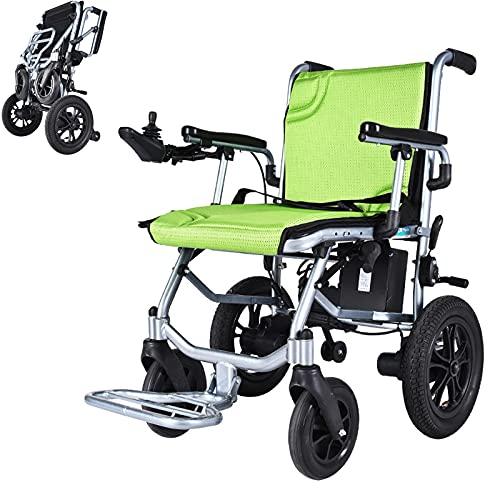 YZJYB Sedia A Rotelle Elettrica Pieghevole Portatile Alluminio Leggerissima Deluxe Power Mobility Aid con Doppio Motore da 190 W Doppia Batteria Carrozzina per Disabili E Anziani