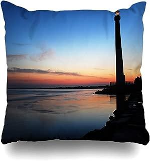 Ahawoso Throw Pillow Cover Square 16x16 Inlet Aide Dawn On Barnegat Lighthouse Beach America American Assist Light Barney Zippered Cushion Case Home Decor Pillowcase