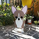 ZXCVBNM Dog Planter - Dog Shape Succulent Cactus Wood Planter Pot, Cute Cartoon Animal Shaped Creative Planter, with Drain Hole Dog Flower Pots (Brown,S)