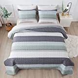 Andency Stripe Quilt Set King(104x90Inch), 3 Pieces (1 Striped Quilt and 2 Pillowcases) Mint Green Patchwork Bedspread Coverlet, Soft Lightweight Microfiber Quilted Bedding Set