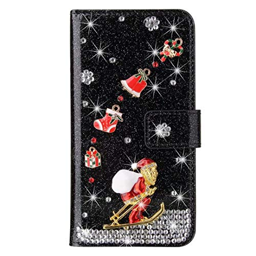 for iPhone Xr Case, 3D Handmade Gems Crystal Glitter Christmas Girly Wallet Phone Cases Shockproof PU Leather Stand Magnetic Flip Notebook Protective Cover for iPhone Xr black