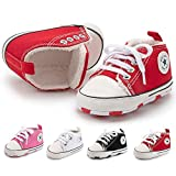 BiBeGoi Infant Baby Boys Girls Canvas Sneakers High Top Lace up Crib Casual Shoes Newborn First Walkers Cribster Shoe