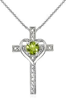 Sterling Silver Gem Cross Heart Pendant Necklace for Girls, Teens or Women