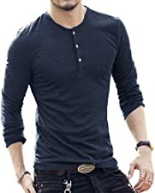 Koodred Men's Henley Long Sleeve T Shirts Casual Slim Fit Summer Fashion Basic Tee Tops