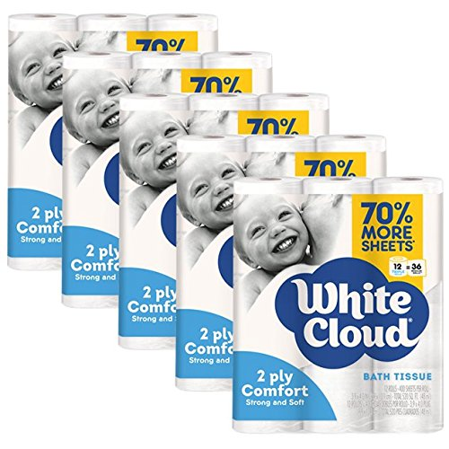 White Cloud 2-Ply Comfort toilet paper – 60 Triple Rolls (Pack of 5 with 12 rolls each), 400 Sheets Per Roll