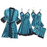 Deloito 4 Stück Dessous Set Damen Kunstseide Spitze Negligee Robe Nachtkleid Babydoll Nachtwäsche Nachthemd Pyjamas Schlafanzug Reizwäsche Vierteiliger Anzug (Blau,Large)