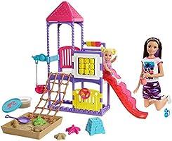 Barbie Bebek Bakıcısı Skipper ve Oyun Parkındaki Bebekleri Seti, Salıncaklı, Kaydıraklı, Kum Havuzlu GHV89