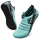 JIASUQI Summer Athletic Quick Dry Pool Water Aqua Shoes Lace Blue US 13-14 Women, 10.5-11 Men