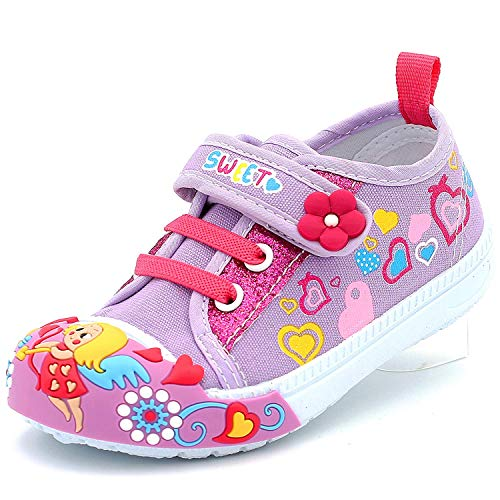 Canvas Sneakers Shoes for Toddler Girls Infant Baby Strap Soft Comfortable Easy Walk Colorful Flower (1 M US Infant, Purple)