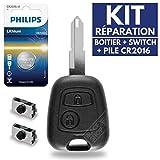 Boitier Plip Télécommande Coque de Clé Peugeot 206 106 306 107 207  Pile CR2016 Philips - Kit iRace Keys