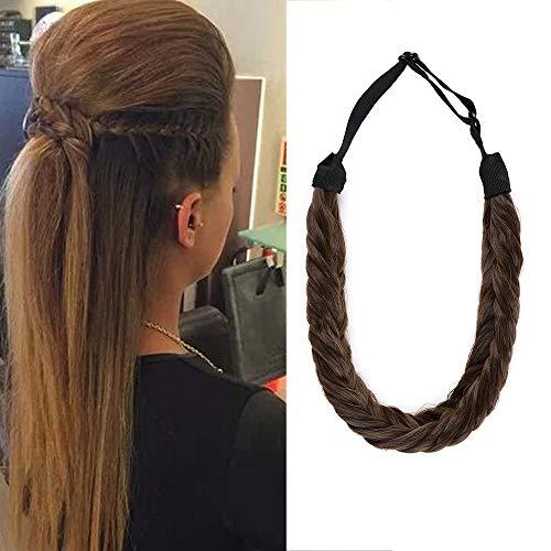 Braids Extensions Stirnband Haarband geflochtene Haarverlängerung Haarteil verstellbare Stretch Französisch Flechten Haar Beauty-Accessoire für Frauen Kastanienbraun & Aschbraun Stil B-Lose