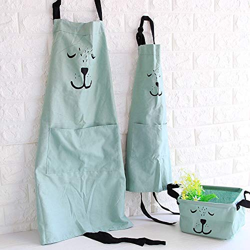 HILLHOME 2 Pack Cotton Linen Parent and Child Apron, Lovely Adjustable Apron with Pockets Great Gift for Adult and Kid, Cooking,Baking,Painting, Gardening Mommy and Me Matching Set (Green)