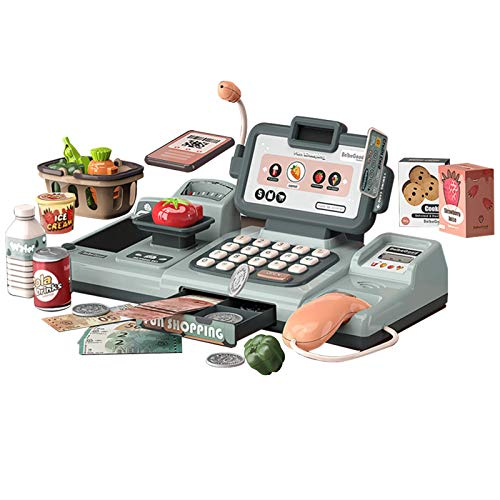 WXLAA Intelligent Cash Register Toy with Voice Recognition and Calculator Children Simulate Supermarket Scanner Pretend Play and Grocery Toys Set
