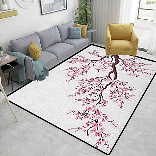 YucouHome Japanese Striped Area Rug Mat, Branch of a Flourishing Sakura Tree Flowers Cherry Blossoms Spring Theme Art, Durable Carpet Area Rug - Living Dinning Room Bedroom Rugs and Carpets(2'x 3')