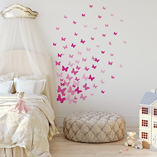 RoomMates Pink Flutter Butterflies Peel And Stick Wall Decals