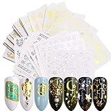BLOUR 20 unids/Set diseños Mixtos Oro Plata uñas Pegatinas de Agua Flores Estrellas Collar Deslizadores decoración de uñas manicura TRSTZ-Y20