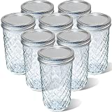 Quilted Crystal Glass Mason Jars 24 OZ Wide Mouth with Lids, Canning Jars Jelly Jars for Meal Prep, Food Storage, Canning, Drinking (8PACK)