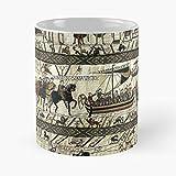 Boats Illumination Medieval Horses Celtic Battle Bayeux Viking Best Taza de café de cerámica de 325 ml, con diseño de caballos medievales, con texto en inglés 'Eat Food Bite John Best de 315 ml
