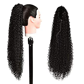 Long Drawstring Ponytail Extension Synthetic 26  Curly Bun Ponytail Black Clip in Hair Extensions Ponytail for Women