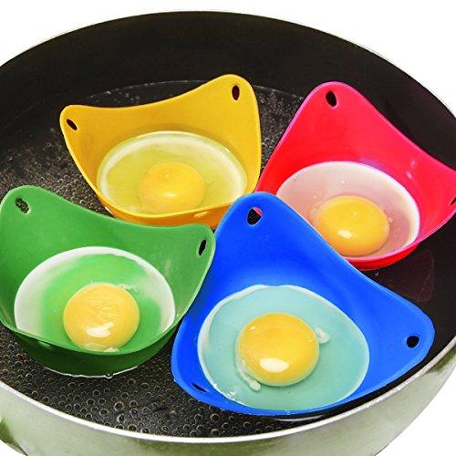 Millya - Moldes para escalfar huevos, 4 unidades, resistentes al calor, de silicona, para cocinar huevos escalfados perfectos