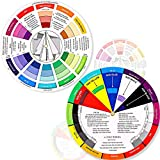 2 Pieces Color Wheel, Paint Mixing Learning Guide Art Class Teaching Tool Color Wheels for Makeup Blending Board Chart Color Mixed Guide Mix Colours (5.5 Inch/ 14 cm)