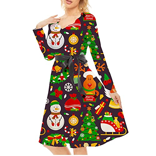TTWOMEN Christmas Santa Snowflake Print Style Robe Ample à Manches Longues A-Line (Black, XXL)