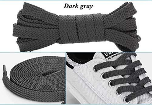 Huien 1 paar dubbele platte veters polyester schoenveters mode sport casual schoenveter stevige platte schoenveter, donkergrijs, 140cm