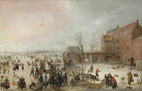 Het Museum Outlet - Hendrick Avercamp - Een scène op het ijs in de buurt van een stad, Stretched Canvas Gallery verpakt. 11,7 x 16,5 inch