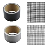 gherry Prevents Intruding Insects Screen Repair Kit 2pcs, Insects Screen Patch Repair Kit, Mosquito Door Window Net Sticky Roll Tape (Black+Gray)