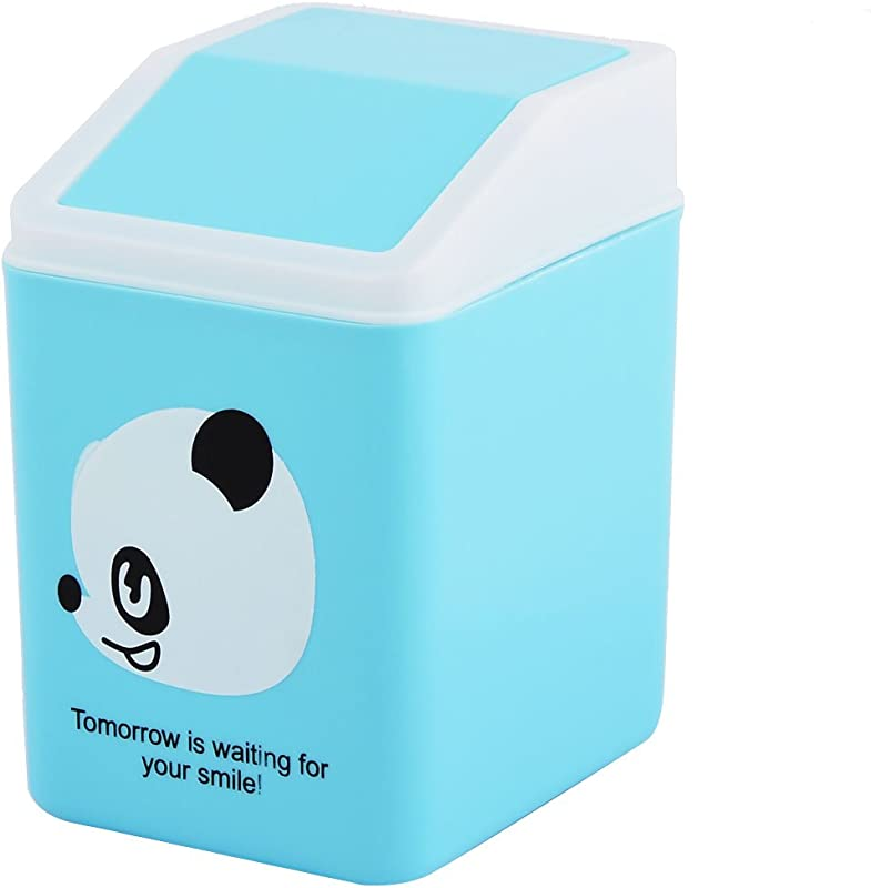 Uxcell Panda Pattern Plastic Home Bedroom Seedcase Rubbish Waste Garbage Bin Can Blue