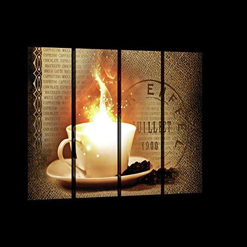 WANDBEELDING SET CANVASBEELD SET Muurschildering Set Canvas Kunstdruk Canvas Set | Koffie met vuur en verse bonen | | Canvas Picture Print Set 20226_PS7-MS | Koffiebonen Mok Brown Koffiemolen S7 (120cm. x 80cm. (4x30x80)) beige, bruin, oranje