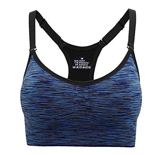 Aibrou Damen Sport BH Starker Halt Bustier Push Up Bra Top für Yoga Fitness Training Blau M