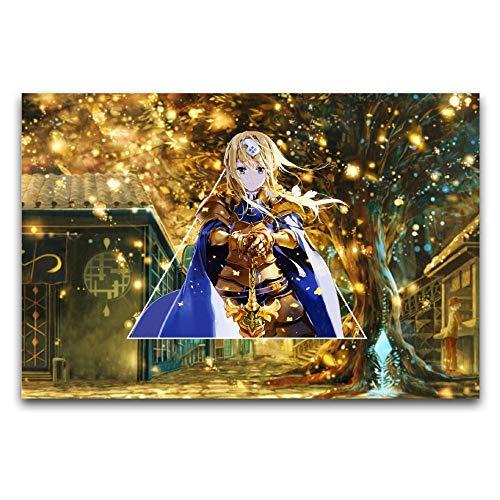 Sword Art Online Sao, Alice Zuberg, regalos de anime, lienzo para decoración de pared, cuadros para sala de estar, 60 x 90 cm