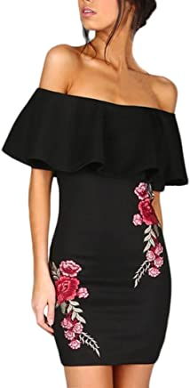 ba76cf3f324b Hot Sale!! Women Dress for Party Sexy,Lelili Fashion Off Shoulder Ruffle  Rose