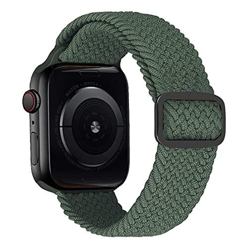MroTech Cinturino di ricambio per Apple Watch, 40 mm, 38 mm, in nylon, con fibbia, colore verde militare