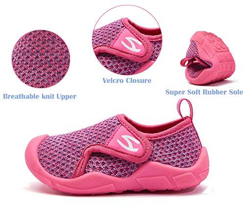INMINPIN Zapatillas de Estar por Casa para Niños Zapatos de Interior de Punto Infantil Niña Niño Cómodos Suave Antideslizante Zapatos de Deporte,Rosa,24EU.