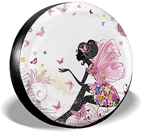 Flower Fairy Cubierta de neumático de repuesto,poliéster Universal 17 pulgadas Cubierta de neumático de rueda de repuesto para remolque,RV,SUV,camión,camión,camioneta,viaje,remolque,accesorios