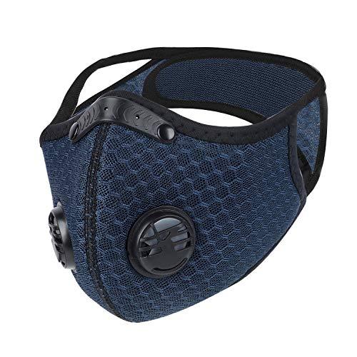 WESTGIRL Staubmaske mit Aktivkohle N95-Filtern, Waschbare und Wiederverwendbare Atemmaske für Pollenallergie,PM2.5, Holzbearbeitung, Mähen, Laufen, Radfahren, Outdoor-Aktivitäten (Blau)