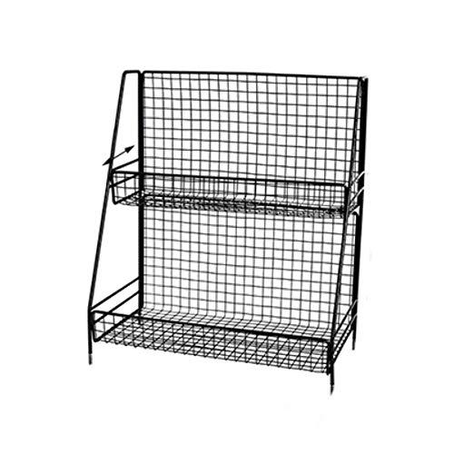 Estante de almacenamiento de hierro para estante de almacenamiento de cocina, organizador de baño, montaje de doble capa, estante de baño cosmético, cesta de almacenamiento