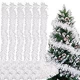 FLOFIA 12 Metros Espumilla de Navidad Blanca, Guirnalda Oropel Navidad para Decoración de Árbol de Navidad, 6 Piezas