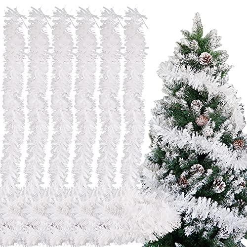 FLOFIA 6pz Orpelli Natalizi 2 Metri Ghirlanda Natalizia di Orpelli dell'Albero di Natale Ghirlanda Tinsel per Decorazione Albero di Natale Festa di Natale (Bianco)
