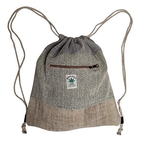 Troll n' Roll Handgemachter Turnbeutel/Daypack/Gymbag/Stoffbeutel aus natürlichem Hand - Unisex - Made in Nepal (Evergreen)
