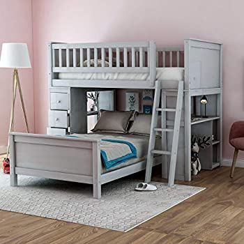 Twin Over Twin Bunk Bed Frame for Kids Easy-to-Convert to Wooden Twin Bed with 4 Storage Drawers Safety Rail Ladder and Desks for Kids Grey