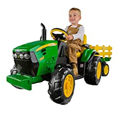 2 speeds plus reverse; 2¼ & 4½ mph. (4½ mph lockout for beginners) Accelerator pedal with automatic brakes Farm tractor wheels provide traction on grass, dirt, gravel or pavement. Extra large stake-side trailer Working FM radio Adjustable seat with f...